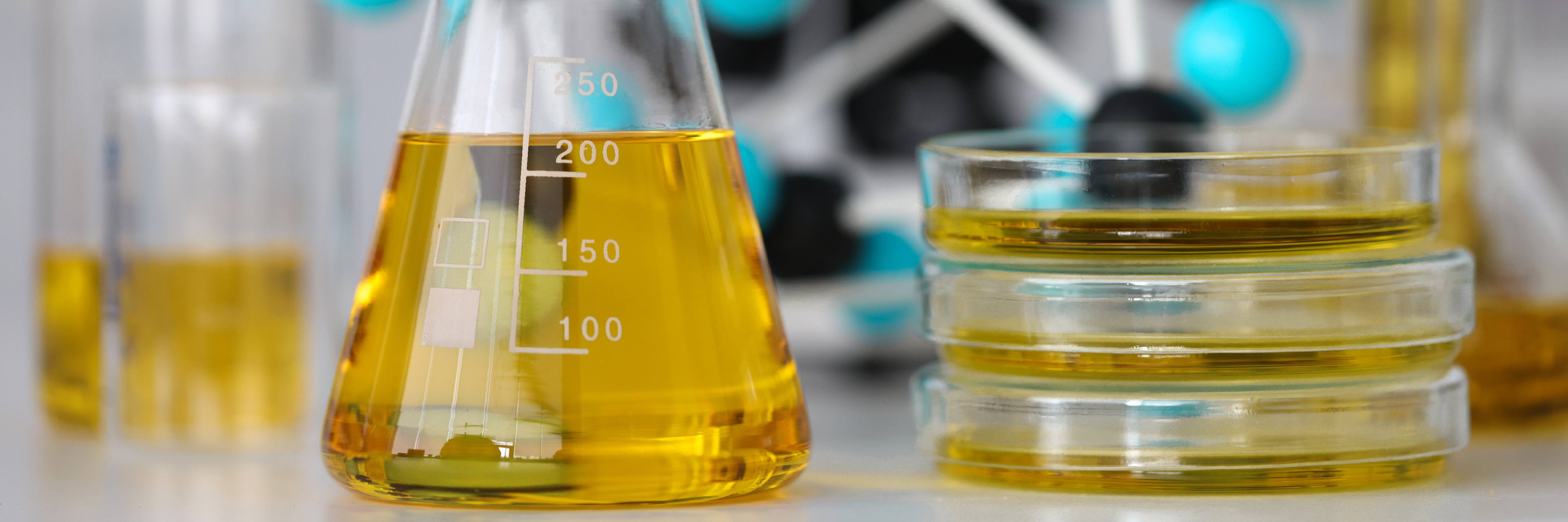 diesel fuel in lab glassware